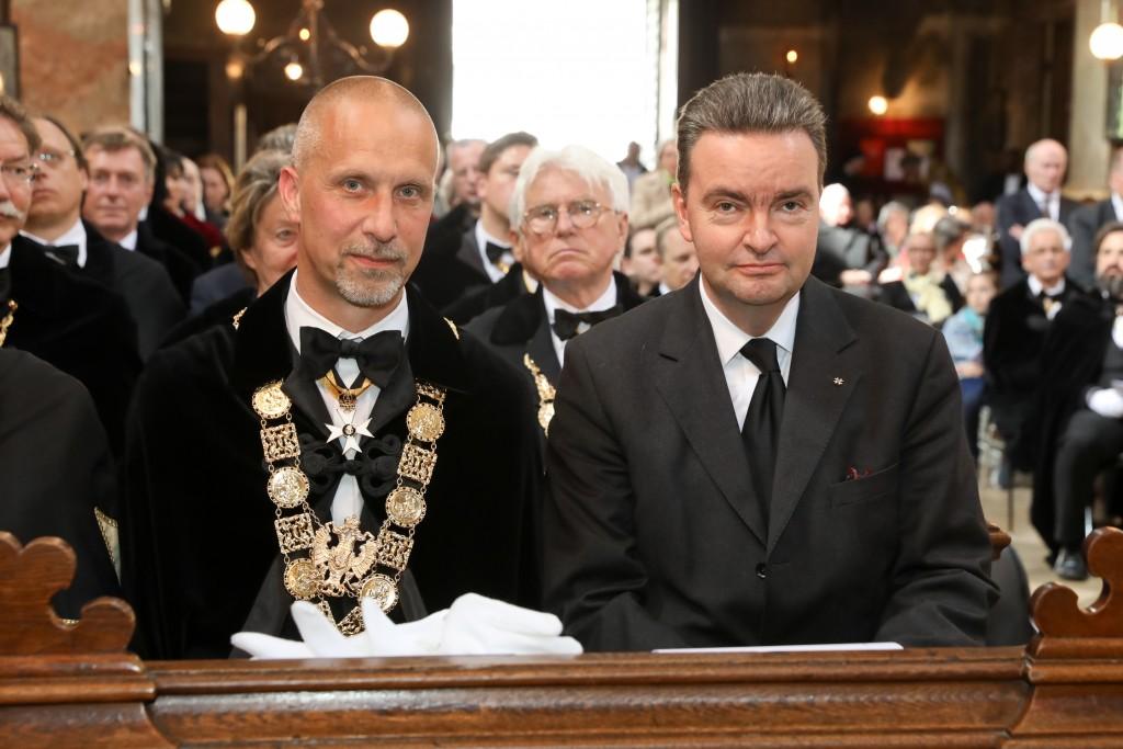 Erzherzog Georg v. Habsburg mit unserem Präsidenten und dem Prokurator des St. Georgs-Ordens Vinzenz Baron v. Stimpfl-Abele